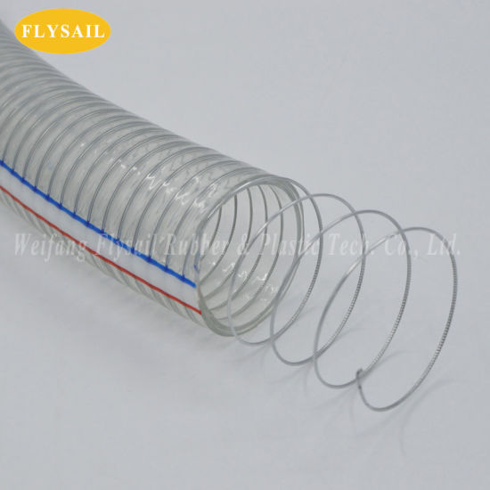 Heavey Pressure Plastic Hose PVC Steel Wire Reinforced Hose Pipe Tube for Water Oil Powder Draining Factory in China