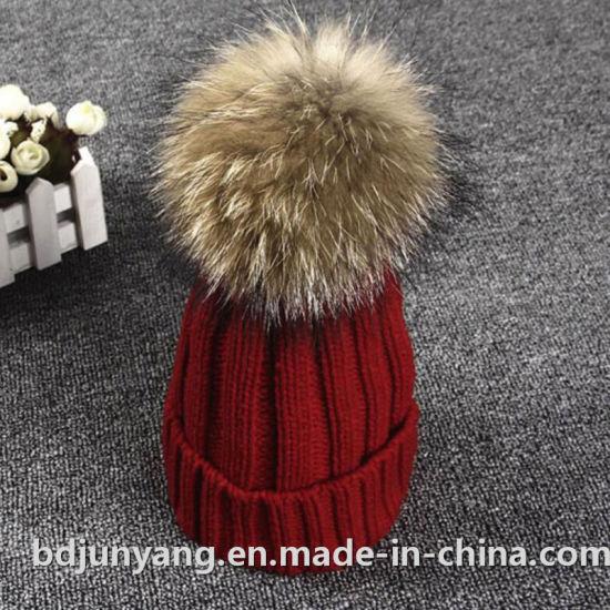 China Beautiful Warm Beanie Hat with Fur Ball - China Beanie Hats ... fa4d5801c20