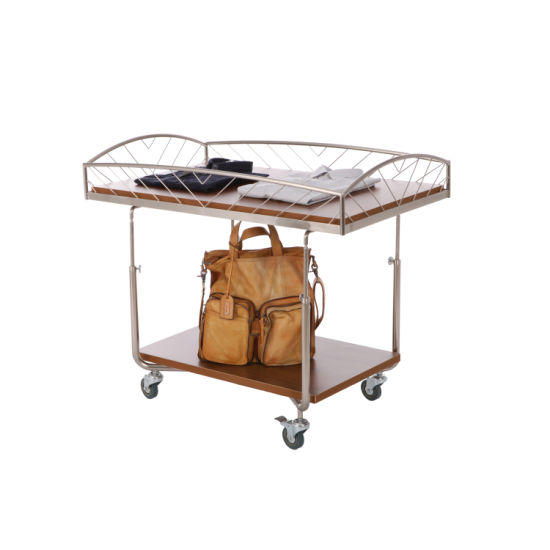 Double Deck Large Casters Adjustable Height Display Shelf
