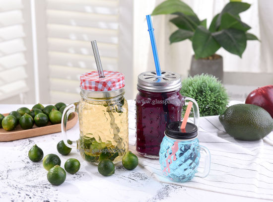 16oz Free Sample Glass Mason Mug with Handle and Lid pictures & photos