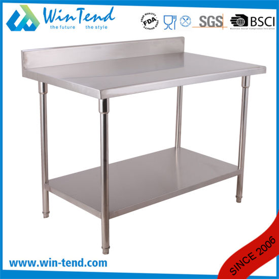 2 Layer Stainless Round Tube Shelf Reinforced Robust Construction Backsplash Work Bench with Height Adjustable Leg