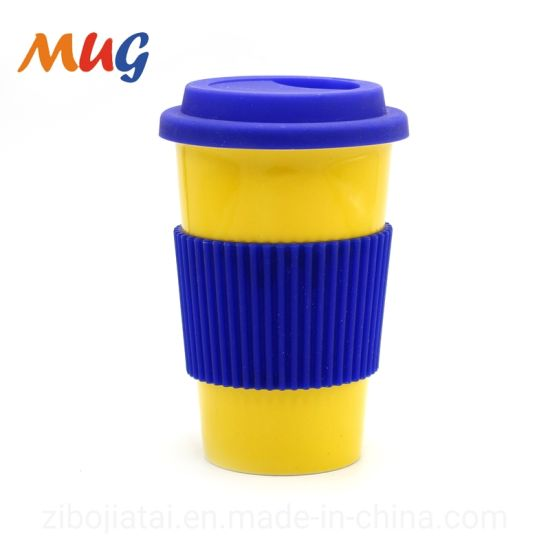 Color Glazed Customized Ceramic Mug with Silicone Lid and Wrap