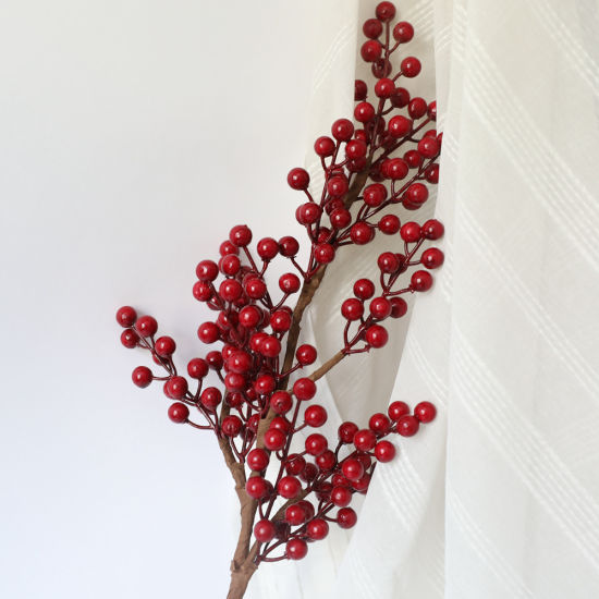 Christmas Red Berry Holly Branch Artificial Flower Home-Wedding-Party-Decor