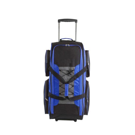 High Capacity 32-Inch Lightweight Rolling Duffel, Gear Trolley Bag for Team, Sport Travel, Blue