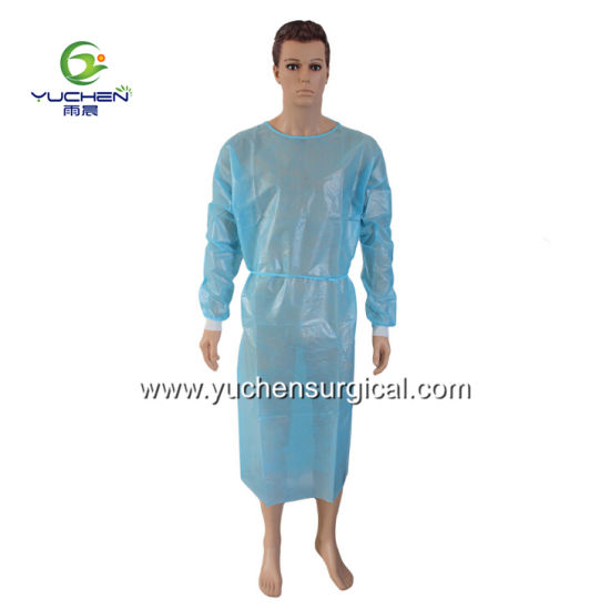 Isolation Gown PE Film Laminated/Coated with Nonwoven, Waterproof, Anti-Penetration