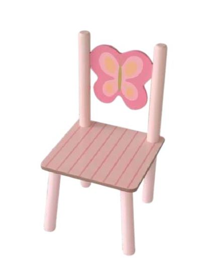 Promotional Wooden Baby Chair Toy, Wooden Toy Baby Chair Set, Butterfly Design Pink Kids' Chair for Girl Wj277256
