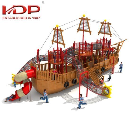 2018 New Design Children Outdoor Playground Wooden Pirate Ship Theme