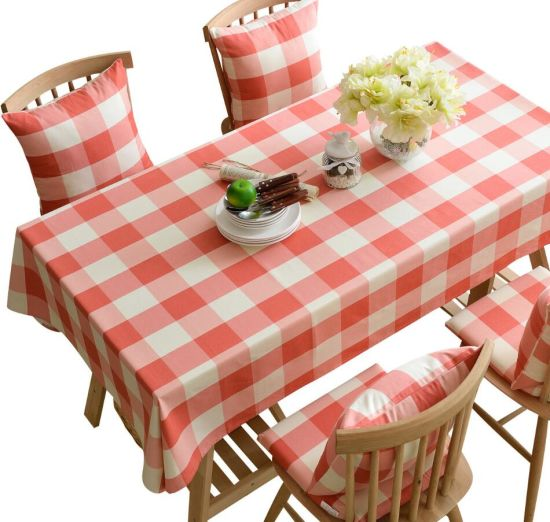 Pink Plaid Cotton Table Cloth