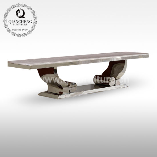 Home Use Marble Top TV Stand with Stainless Steel Base