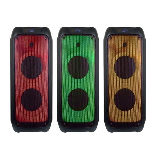 Hot Selling Temeisheng Tms210-08 Dual 10 Inch Active Colorful Light Powerful Wireless DJ Loudspeaker Speaker