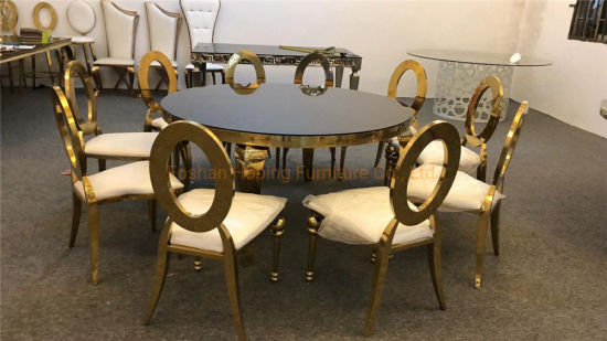 China Living Room Furniture Outdoor, Modern Round Marble Top Dining Table Set 4 Chairs