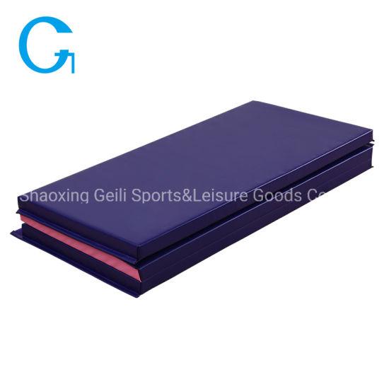 Convenient Two Color Mix Floor Mat Tri-Fold PVC Gymnastics Mat with Hook&Loop Fastener