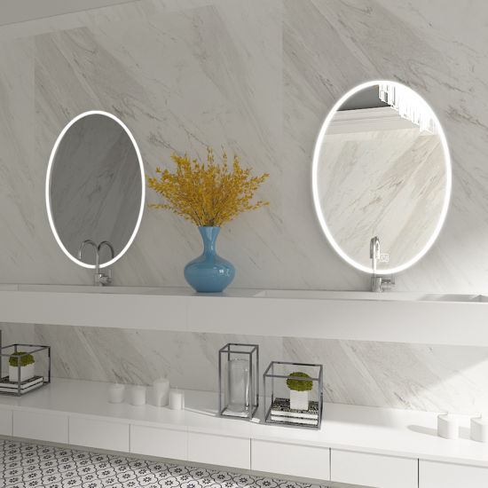 Customized Wall Mount Bathroom Lighting Oval LED Lighted Mirror with Touch Switch