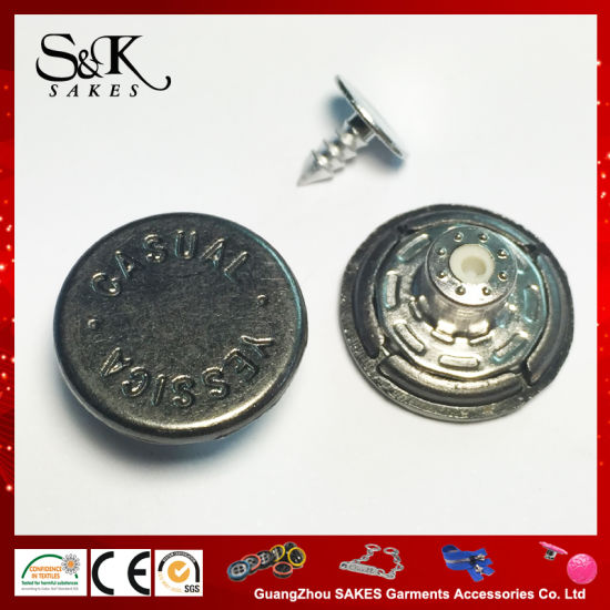 Custom Brand Engraved Logo Metal Zinc Alloy Shank Button