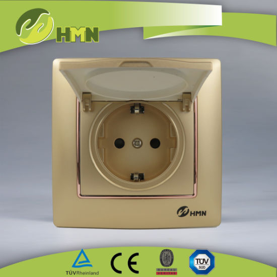 CE/TUV/CB Certified European Standard Colorful plate 1 Gang GOLD Duet cap Schuko Socket