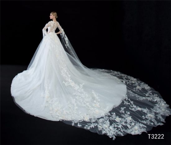 China Lace Aplliqued Big Long Train Bridal Dress Wedding Gown ...