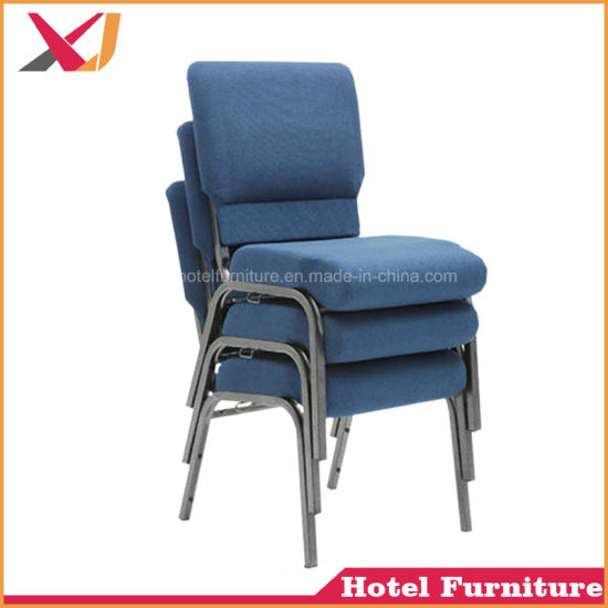 China Strong Metal Steel Stacking Red Blue Church Chair For