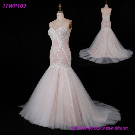 Pink Sweetheart Strapless Mermaid Tulle Bridal Wedding Dress