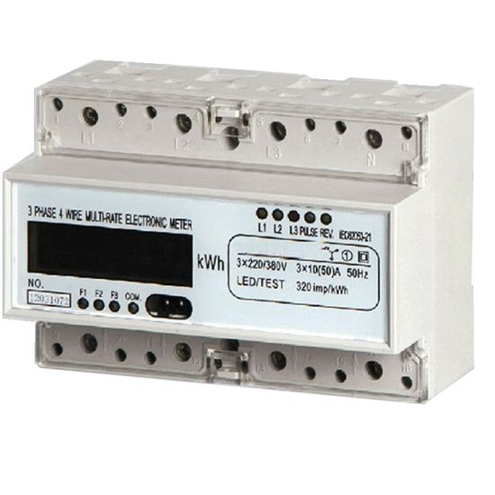 Three Phase Electronic Watt-Hour DIN Rail Kwh Meter with LCD