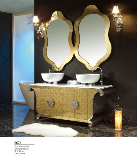 Double Basin Luxury Stainless Steel Modern Hotel Bathroom Furniture Cabinets