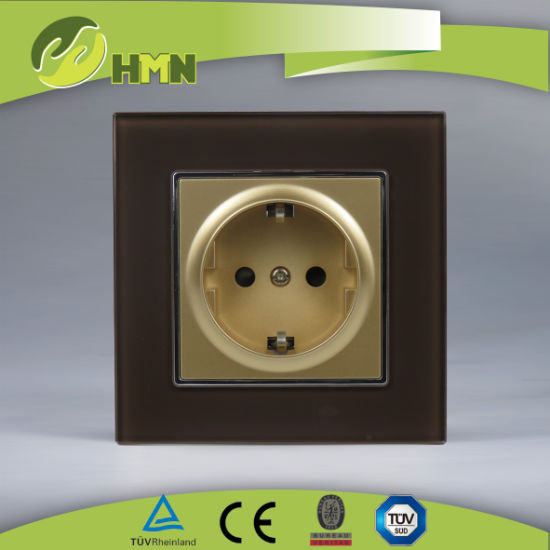 TUV, CE certified EU standard BROWN tempering glass schuko socket