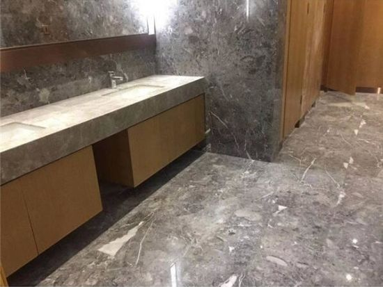 Chinese Polished Natural Mgm Cinderella Cappuccino Grey Romantic Ash Grey  Lido Marble Tile Slab With White Veins For Bathroom Floor Wall