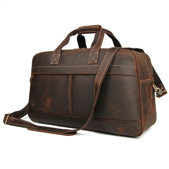 China Factory Low Price Large Capacity Vintage Brown Crazy Horse Leather Travel Bag Duffle Bag pictures & photos