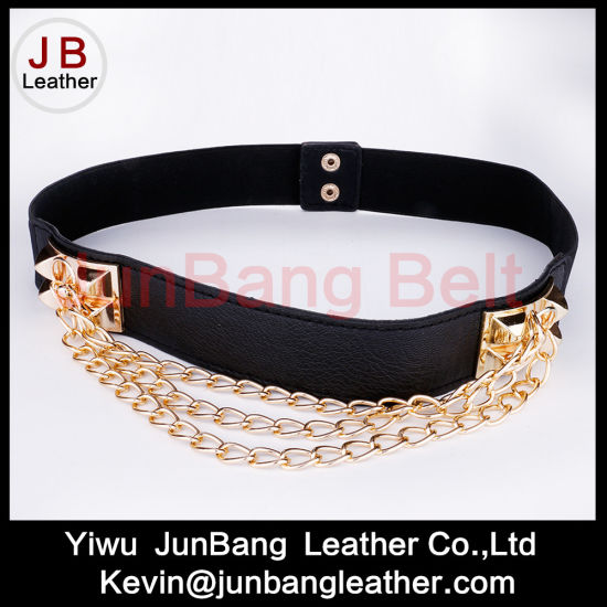 New Style Girls Alloy Buckle Elastic Waistband Belt with Chain