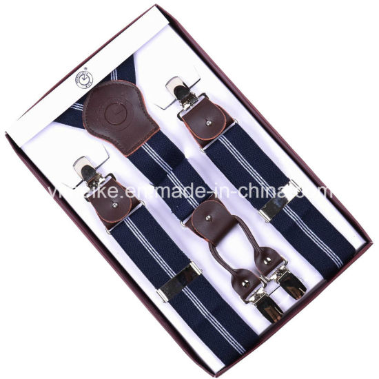 High Quality 4 Clips Men Suspender Genuine Leather Fittings