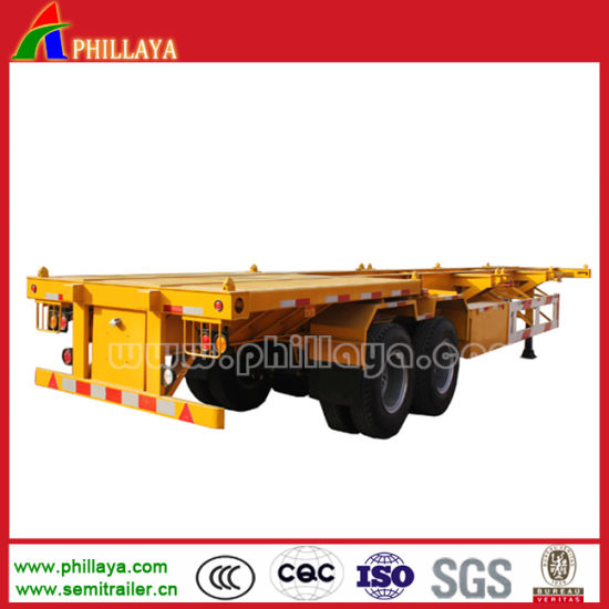 Skeleton Type 20 Feet Container Transport Semi Trailer pictures & photos