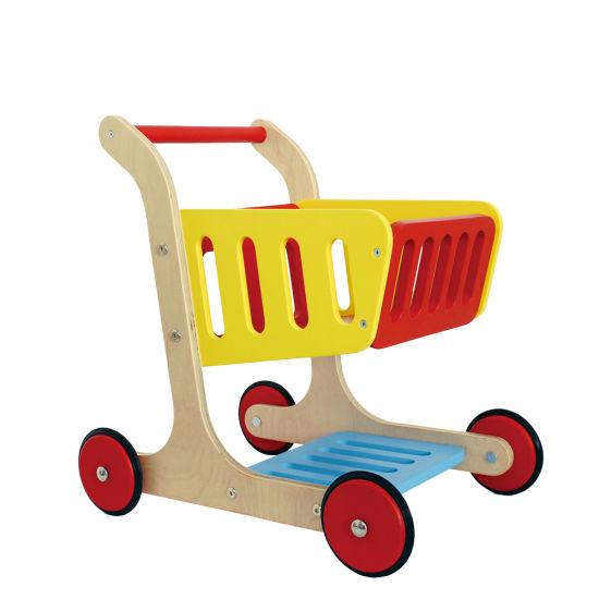 China Mini Shopping Cart Wooden Walking Baby Doll Pram For Kids