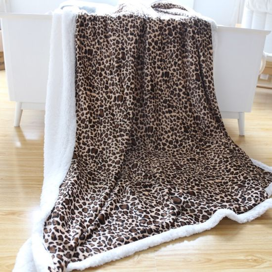 China Wild Leopard Printing Thick Winter Micro Plush Blanket Throw