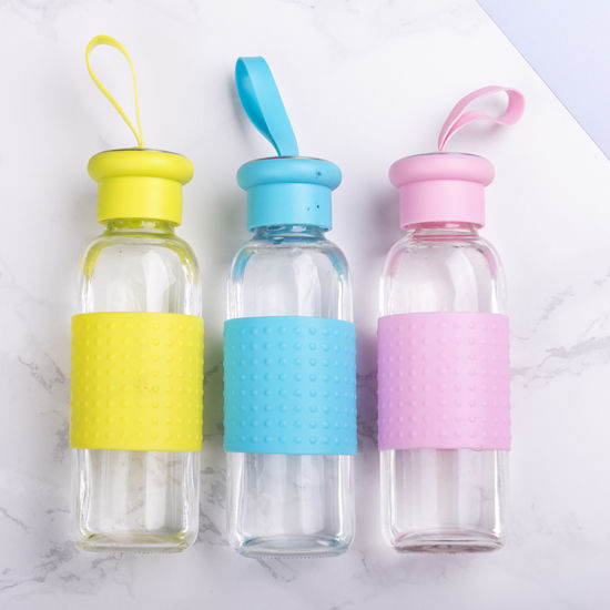 350ml Silicone Heatproof Glass Drinking Water Bottle Beverage Bottle pictures & photos