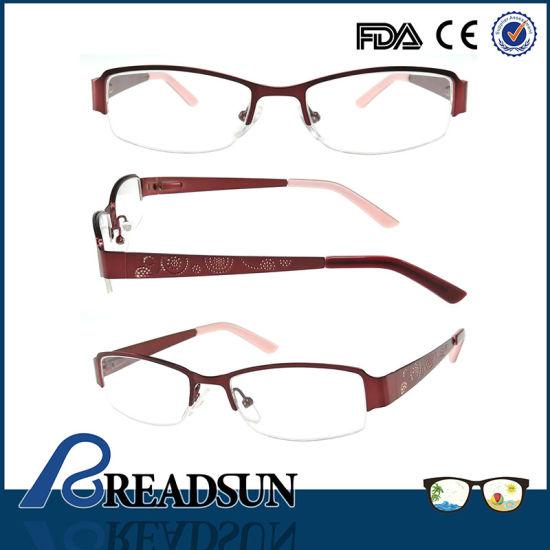 Om134221 Half Alloy Metal Sport Optical Glass Frames for Women