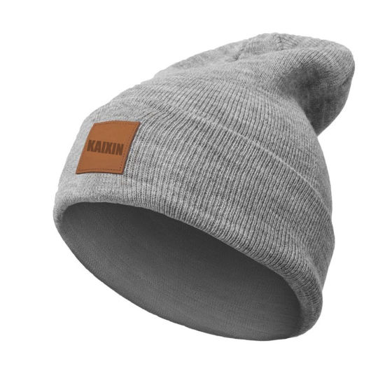 China Wholesale Plain Leather Patch Knitted Beanie Hat - China ... bffe7930698