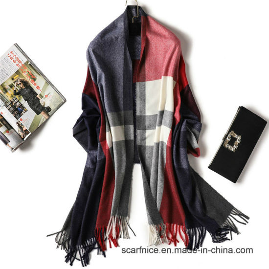 a282a7cc80 2018 Brand Women Scarf Winter Cashmere Scarves for Lady Warm Pashmina Shawls  and Wraps Striped Thick Female Neck Echarpe