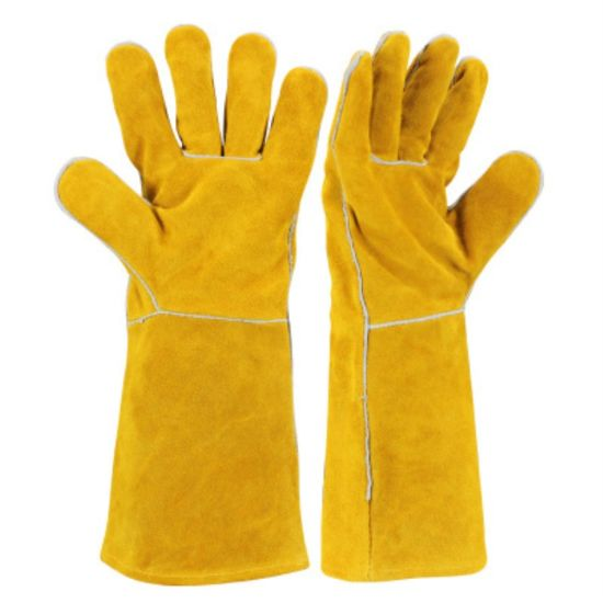 Yellow Cow Split Leather Heat Resistant Long Welding BBQ Grill Barbecue Gloves