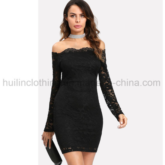 Women off Shoulder Long Sleeves Bodycon Lace Dress