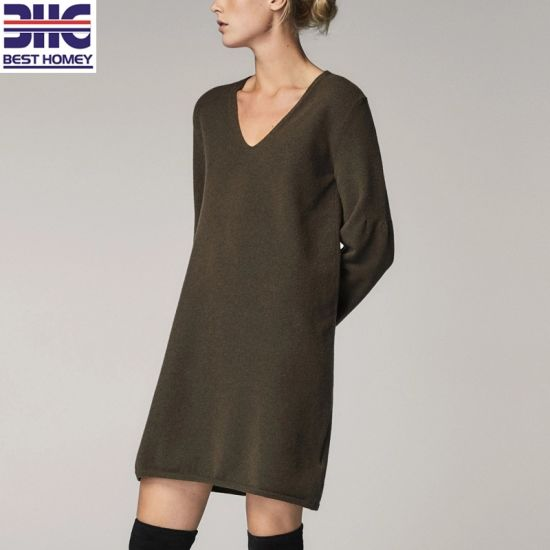 Women's Wool Blend Bell Long Sleeves V Neck Loose Fashion Elegant Knitted Sweater Dress for Ladies