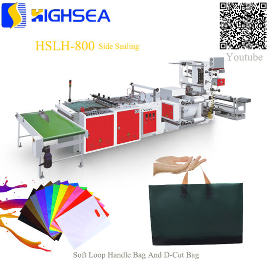 Flat Patch Handle Poly Bottom Sealing Die Cut Soft Loop Biodegradable HDPE LDPE Plastic Bag Making Machine