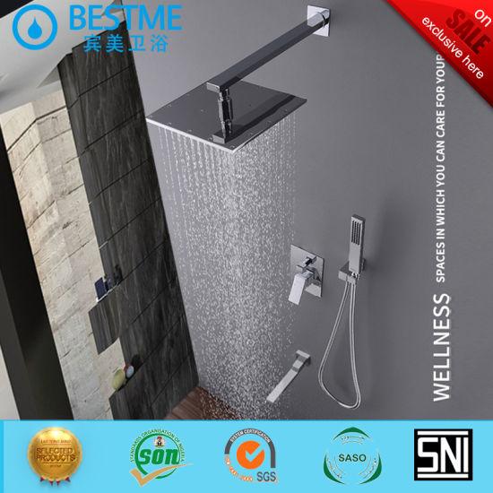 Shower Faucet Bathroom Concealed Rainfall Shower Set Bath Hardware Set Bf-60106g
