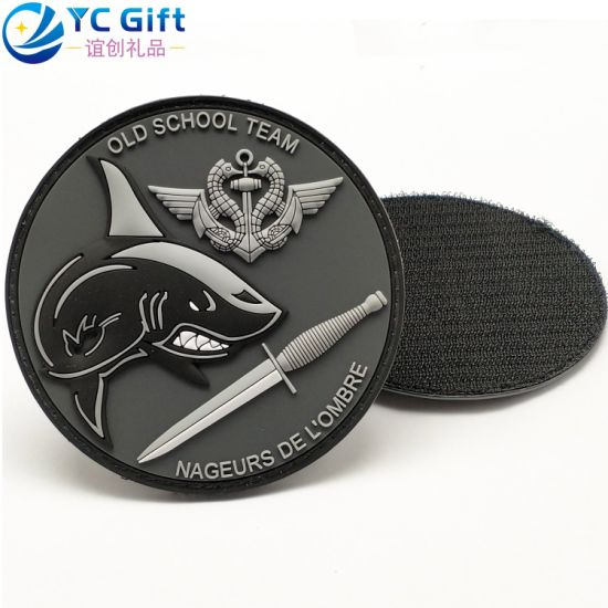 China Factory Custom Fashion Personalized Old School Team Uniform Decoration Label Design PVC Rubber Logo Flower Funny Jacket Patch Supplies Military Patches
