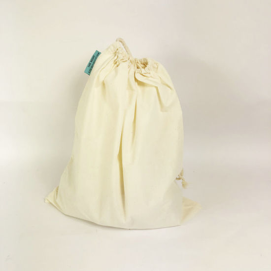 Promotional Eco-Friendly Reusable Cotton Drawstring Shopping Storage Supermarket Bag pictures & photos