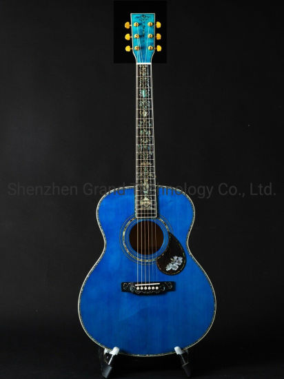 40 Inch Blue Burst Maple Om Style Solid Spruce Top Abalone Inlay Acoustic Guitar pictures & photos