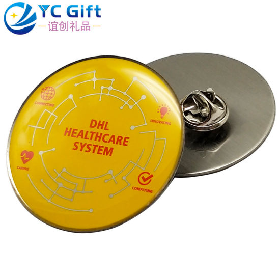 Professional Custom Printing Epoxy Metal Button Badges DHL Company Name Tag Various Personalized Style Promotional Gift Lapel Pin with Design Your Logo