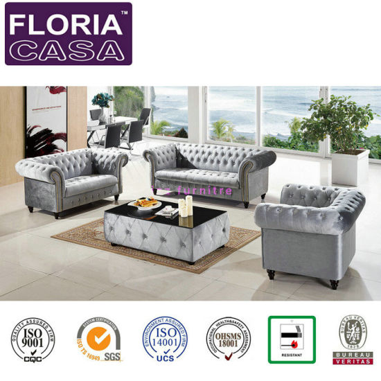 China Silver Color Modern Fabric Sofa, Modern Living Room Furniture Sets Uk