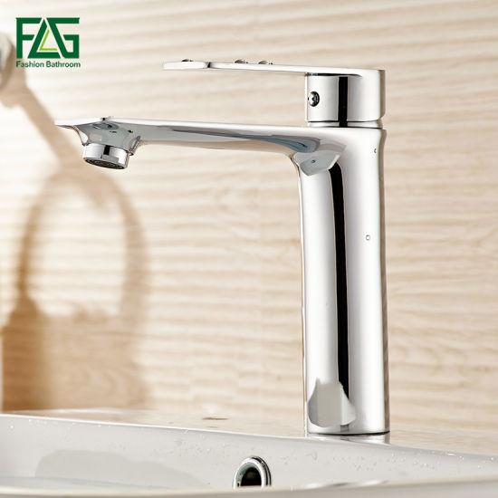 Flg Deck Mounted Brass Body Single Handle Bathroom Basin Faucet