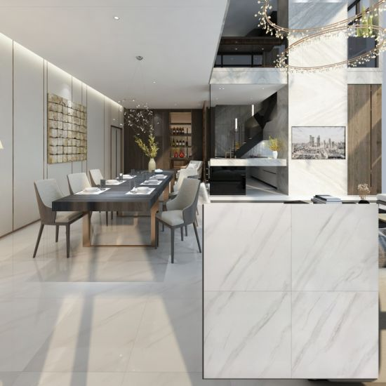 Personalized Glazed Polished White Ceramic Carrara Marble Look Porcelain Tile