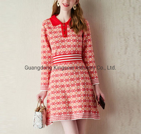 Fashion Ladies Polo Shirt Collar Sports Wear Sweater Stripe Clothes Knitting Dress Apparel
