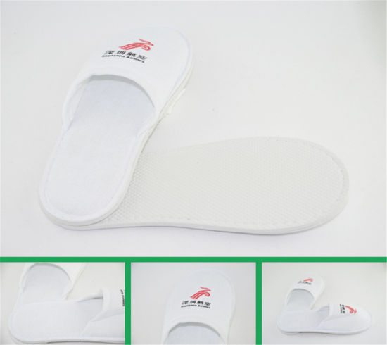 Cheap White Terry Open Toe Slippers